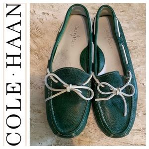 Cole-Haan Green Leather Driver Mocassins. Sz 9.5D